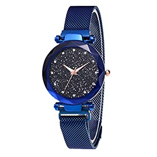 Fashion Women Watches Starry Sky Watch Magnet Strap Buckle Wrist Watches Made of Alloy & Stainless (Blue)
