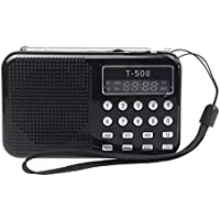 Radioddity T-508 Mini Digital AM FM LCD Radio Speaker, Micro SD/TF USB Disk Speaker MP3 Music Player Stereo, Portable Pocket Novelty Radio Receiver, Handheld CB Radio Transceiver,
