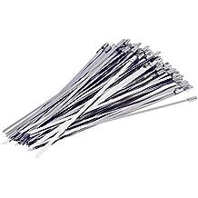 Yizhet 100 Pieza Bridas Metalicas Cable Bridas banda de acero escudo térmico cinta envoltura de escape