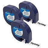 3x Ersetzen DYMO Letratag Schriftband 91201 91221 S0721660 12 mm X 4 m Etikettenband, Schwarz auf Weiß Kunststoff Etiketten Kompatibel mit Dymo XR, LT-100H, LT-100T, LT-110T Etikettendrucker