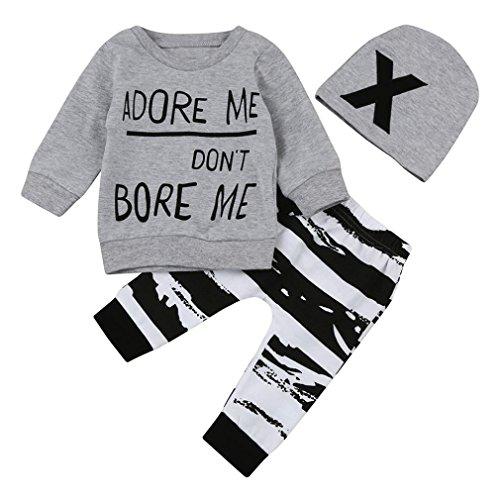 Conjunto Ropa Bebé, Amlaiworld Bebés niña niño recién nacidos Camisetas de manga larga + Pantalones + Sombrero Otoño Invierno Ropa 3 Mes - 2 Años (Tamaño:6-12Mes, Gris)