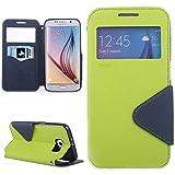   Handyschutz in Perfektion   Ultra Slim Premium Flip Cover Tasche Schutz Hülle mit Silikon Innen Schale Original Roar Fancy Case Für Samsung Galaxy S6 Edge Grün