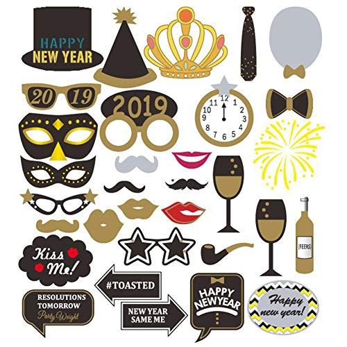 Hilai 1 Set Photo Booth New Years Eve Party-Foto-Props Kit DIY Photo Booth Prop umfassen Masken Schnurrbart Hut-Partei-Dekoration Supplies