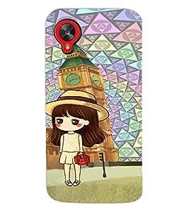 Fuson Premium Red Cheeks Girl Printed Hard Plastic Back Case Cover for LG Google Nexus 5