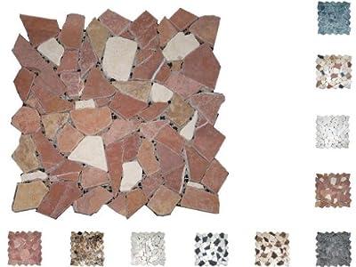 1Netz Marmor Mosaik Bruch getrommelt Rosso/Cream von Mosaikdiscount24 auf TapetenShop
