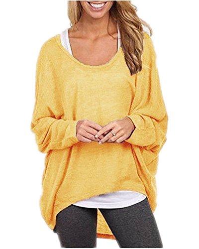 Minetom Donna Maglione Asimmetrica Maniche Lunghe Pullover Sweatshirt Autumn Top Blouse Giallo
