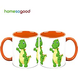 HomeSoGood Dinosaur Waving His Hand Coffee Mugs (2 Mugs)