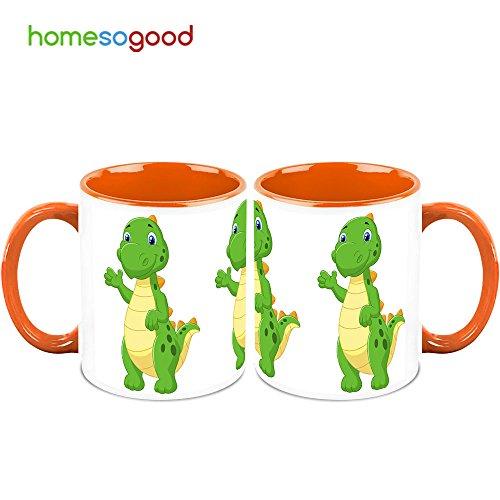 HomeSoGood Dinosaur Waving His Hand Coffee Mugs (2 Mugs)