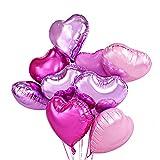 Herz Ballons Helium Ballons Herz Rosa Luftballons Hochzeit 46cm Satz von 12 und 14 Meter Geschenkband Rosa