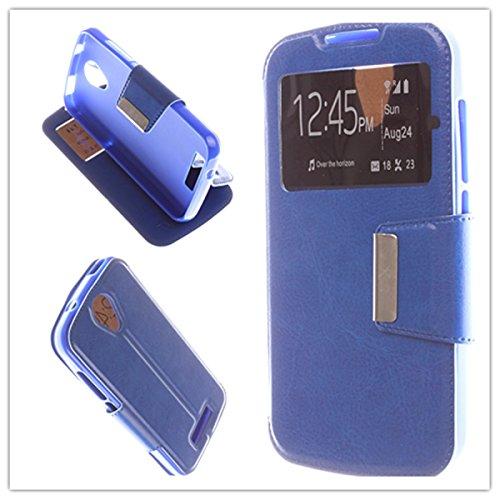 MISEMIYA - Hüllen Taschen Schalen Skins Cover für Doogee X3 - Hüllen, Cover View Unterstützung, blau