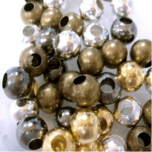 1000 pieces 2.4mm Metal Spacer Beads - Mixed Color - A6815 by k2-accessories Jewellery (Shiny Silver Beads)