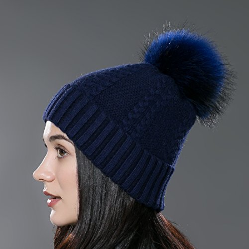 URSFUR Chapeau/Bonnet/Etiquette Style Bobble Chaud D'hiver avec PomPon en Fourrure de Raton laveur Bleu