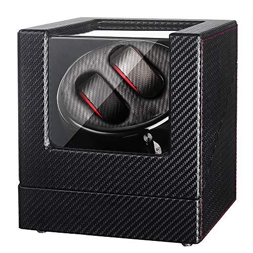 Sepano Automatischer Uhrenbeweger Dual aus PU-Ledergehäuse Schwarz mit 5 Drehmodi für 2 Armbanduhren