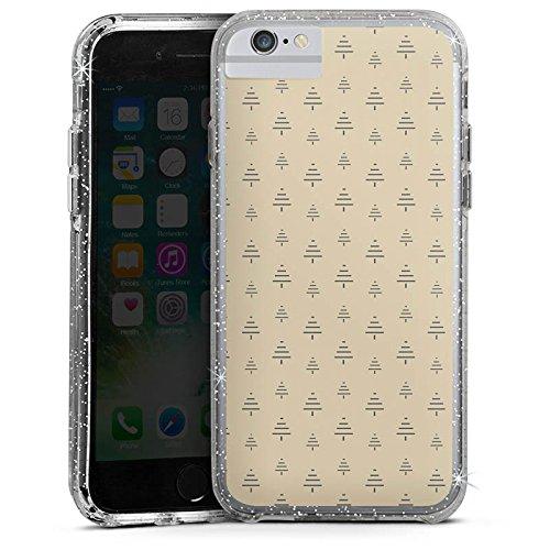 Apple iPhone 8 Bumper Hülle Bumper Case Glitzer Hülle Tanne Weihnachten Muster Bumper Case Glitzer silber
