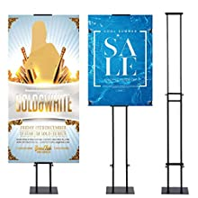 VAIIGO Double-Sided KT Board Sign Stand Adjustable Poster Stand Heavy Duty Floor Advertising Stand Height Up to 75inches for Board & Foam,Black