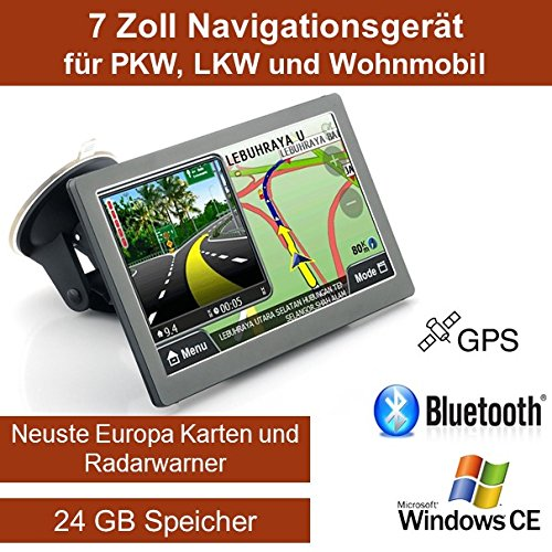 Elebest 17,8cm 7 Zoll Navigationsgerät, mit 24 GB Speicher, Für PKW,LKW,Wohnmobil,GPS,Navigation,Freisprecheinrichtung,Bluetooth,Kostenlose Kartenupdate,Radarwarner