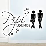 Wandora G019 WC Türaufkleber Mann - Frau Pipi Lounge I hellorange 27 x 18 cm I Wandaufkleber Wandsticker Bad Tür Aufkleber selbstklebend