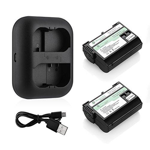 Powerextra Lot de 2 Batteries Nikon EN-EL15 2200mAH et Chargeur pour Nikon D7200 D7100 D7000 D810 D800 D750 D610 D600 V1 Cameras