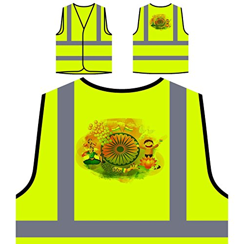 Indien Künstler Neuheit Lustig Personalisierte High Visibility Gelbe Sicherheitsjacke Weste b177v