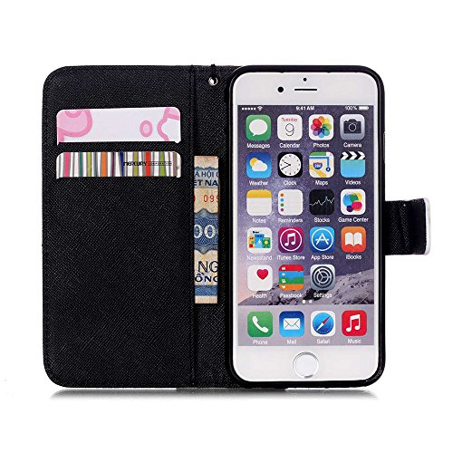 "Case For Iphone 6 Plus (5.5"") PU Leather Wallet Case, Luxuxy Flip Case Cover Holster Shell With Stand function and Soft TPU Inner Back cover Skin for Iphone 6s Plus Black Smile"