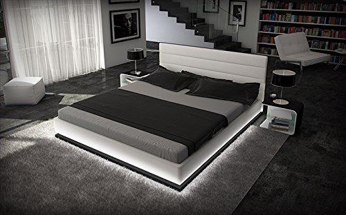 Innocent Designer Bett 180x200cm Kunstleder weiß schwarz Beleuchtung Ripani