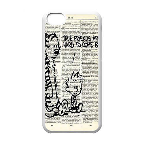Classical Style Case with Calvin and Hobbes Lightweight Plastic Protective Back Cover for iPhone 5C -White031305