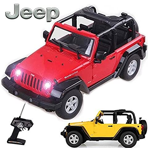 Comtechlogic® CM-2138 Official Licensed 1:9 Scale Jeep Rubicon Rechargeable Radio Controlled RC Electric Car Ready to Run EP RTR – RED