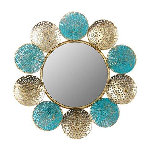 ZI LING SHOP Espejo montado en la Pared Redonda Grande enmarcada Decorativa Acabado Dorado...