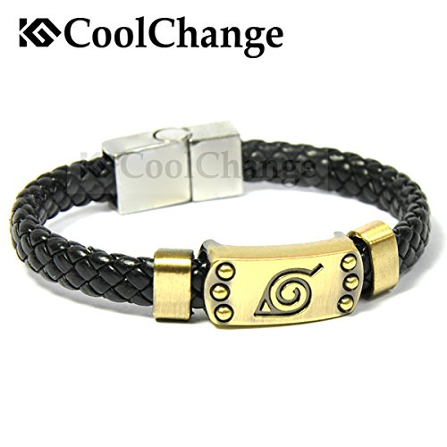 CoolChange Pulsera de cuero de Naruto con logo Konohagakure
