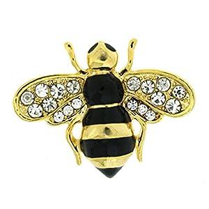 Brosche/Anstecknadel von Brooches Store aus goldener und schwarzer Emaille mit Kristallen, im Hummel-Design