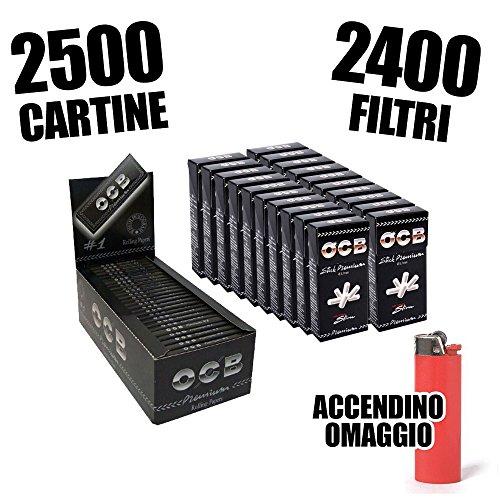 OCB 2500 CARTINE CORTE NERE SINGOLE + 2400 FILTRI ULTRASLIM OCB + ACCENDINO OMAGGIO