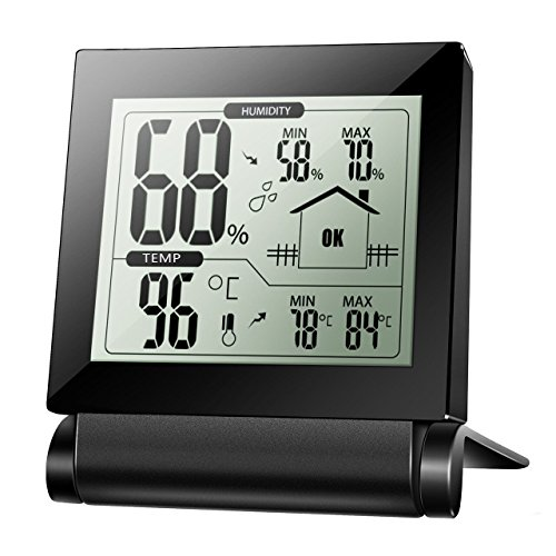 Habor Digital Wireless Thermo-Hygrometer, Funkwetterstation, Raumklimakontrolle Raumluftüberwachtung mit Min/Max und LCD Schirm für Schlafzimmer, Büro, Wohnzimmer, usw.