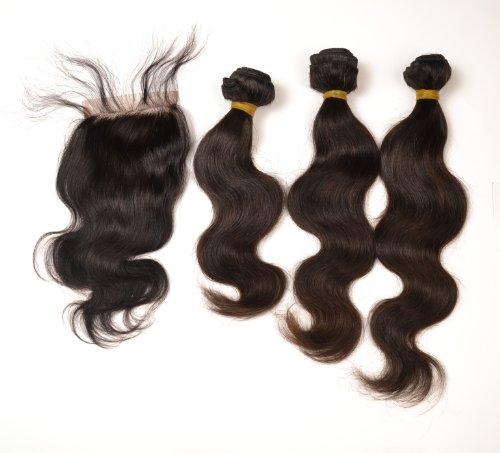 Lot de 3 trames d'extensions de cheveux ondulés péruviens naturels de tailles différentes avec perruque invisible 3 x 100 g 30 cm 35 cm 40 cm
