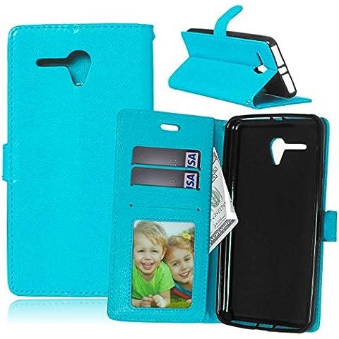 AOFad Alcatel OneTouch Pop 3 (5.5) Funda carcasa Azul Fundas calcetín Soportes Video Falsa piel Accesorios Mujeres Hombres Serie M540 5.5