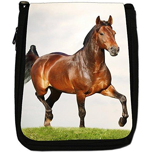 Elegante cavallo marrone medio nero borsa in tela, taglia M Brown Horse Trotting In Field