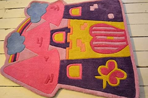 Pink Fairytale castle, Childrens rug, Hand Made 90x90cm