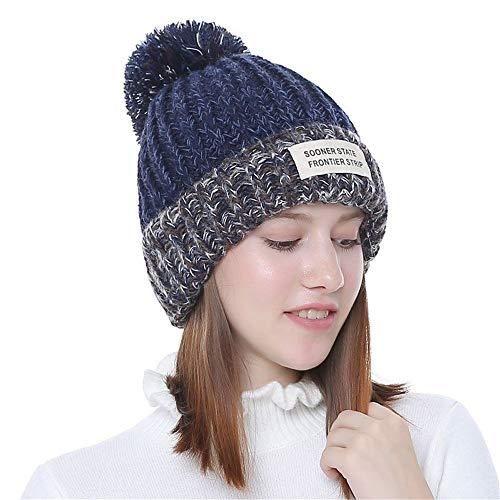 Winter Stricken Wolle warme Mütze Hairball Womens tägliche Slouchy Hüte Hut (Farbe : Navy)