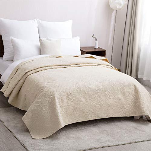 Bedsure copriletto matrimoniale beige modello di intreccio di cesti 260 x 240 cm - trapunta copri letto per primaverile e estivo moderno e morbido
