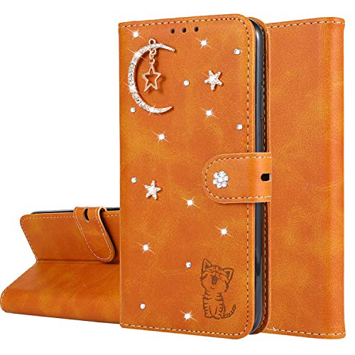 Miagon Diamant Brieftasche Hülle für iPhone 6S Plus / 6 Plus,Mond Star Katze 3D Design PU Leder Flip Handyhülle Klapphülle Klappbar Silikon Bumper Schutzhülle,Orange