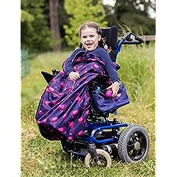 Couvre-jambes pour buggy besoins spéciaux/fauteuil chaise roulante - pour enfant (bleu marine flamants roses)