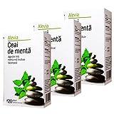 Alevia Tè alla menta (Peppermint Tea), 100% Naturale, Rinfrescante, Organic & Healthy, (Confezione da 3, totale 60 bustine di tè, 84 g)