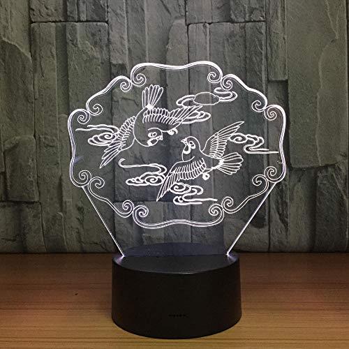 Mandarin Ducks 3D Led Illusion Nachtlicht Tier Usb Tischlampe Bunte Hologramm Lampe Für Hochzeit Party Decor Liebhaber Geschenk Geburtstag, Schreibtischlampe