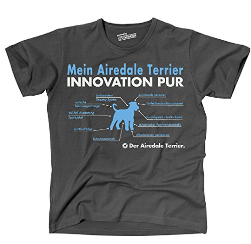 Siviwonder Unisex T-Shirt INNOVATION AIREDALE TERRIER TEILE LISTE Hunde lustig fun Dark Grey