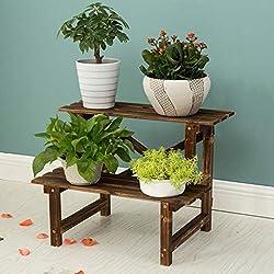 CZWYF Support à Plante en Bois 2/3 de Niveau Support de Plante décorative Support de Plateau de Pot de Fleur de Bureau pour Maison Bureau intérieur / (Bois de Carbone) (Size : 60x40x46cm)