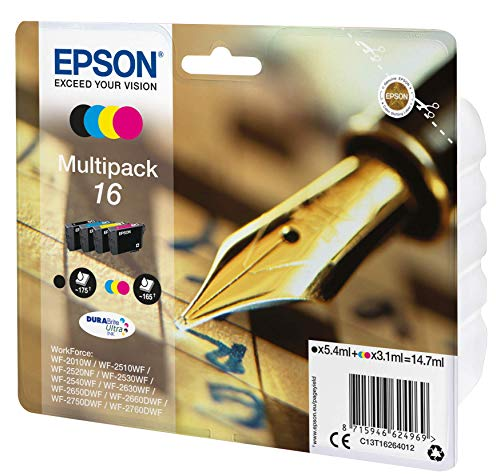 Epson Original C13T16264511 Füller, wisch- und wasserfeste Tinte (Multipack, 4-farbig) (CYMK)