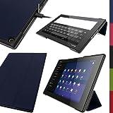 """igadgitz Premium Bleu en Cuir PU Smart Cover Étui Housse Case pour Sony Xperia Z2 Tablet SGP511 10.1"""" avec Support Multi-Angles + Mise en Veille/Réveil + Film de Protection"""