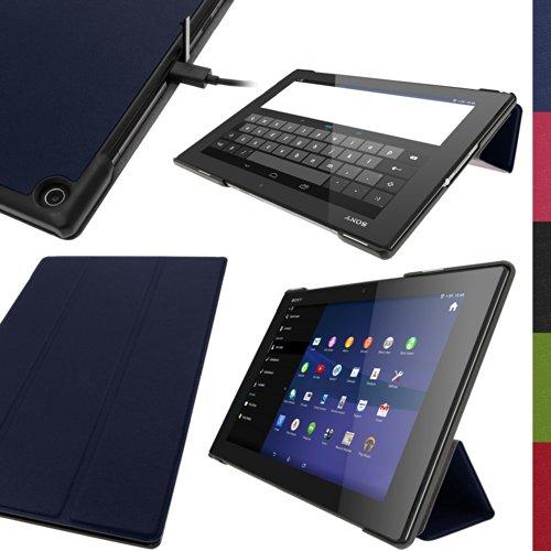 igadgitz Blau PU Ledertasche Hülle Smart Cover für Sony Xperia Z2 Tablet SGP511 10.1