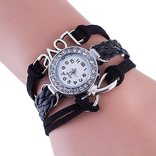 SSITG Damenuhr Infinity Love Hand-gestrickt Leder Kette Quarz Armbanduhr (Gestrickte Leder)