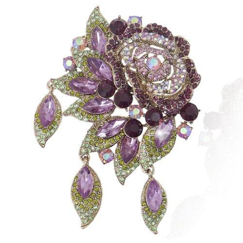 EVER FAITH® Cristal Autrichien Rose Fleur Broche Pendentif Vintage Style Violet