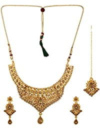 Fedexo Gold Plated Temple Desigen Necklace , Earring With Maangtika Set